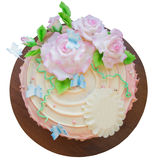Beautiful cake with sugar roses,  on a white background Stock Photos