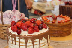 Beautiful cake. Tasty looks, a photo from an exhibition of cakes Stock Images