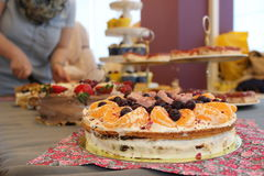 Beautiful cake. Tasty looks, a photo from an exhibition of cakes Royalty Free Stock Image