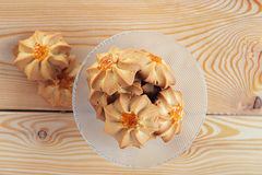 Beautiful cakes in glass bowl Royalty Free Stock Photography