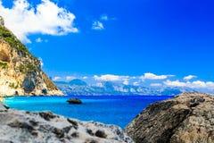 The beautiful Cala Goloritzè in Sardinia. The beautiful bay in the Gulf of Orosei, Sardinia royalty free stock photos