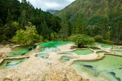 Calcification pond at Huanglong, Sichuan, China stock images