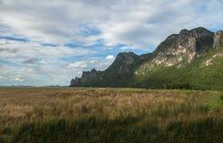 Beautiful calcite mountain with blue sky at khao sam roi yod nat Royalty Free Stock Photo