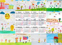 Beautiful calendar for 2016 with children's drawings. Beautiful calendar for 2016 with different children's drawings for every month Vector Illustration