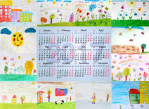 Beautiful calendar for 2017 with children's drawings. Beautiful calendar for 2017 with different children's drawings for every month Stock Photography