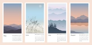Beautiful calendar with a natural landscape with mountains and a rivers.Vector illustration of colorful sunsets and sunrises