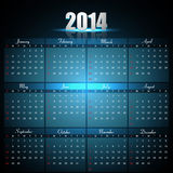 Beautiful Calendar for 2014 template. Bright blue colorful creative design Royalty Free Stock Photos