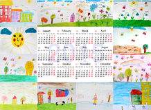 Beautiful calendar for 2015 year with children's drawings Stock Images