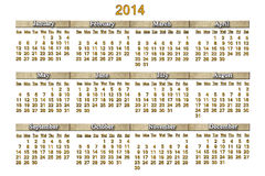 Beautiful calendar for 2014 year with nice strips Royalty Free Stock Photos