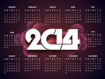 Beautiful calender design for new year 2014. Stock Images