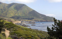Beautiful California Pacific Ocean Coastline. Panoramic view of the beautiful northern California coastline along the Pacific Ocean between San Francisco and Los Stock Images