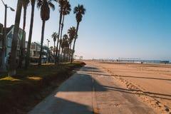 Beautiful Californian spirit. Beautiful Venice beach area in Los Angeles. Bicycles road down the ocean near the beach royalty free stock photo