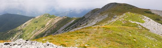 The beautiful Calimani mountains in Romania with their easy paths and rewarding landscapes stock images