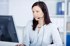 Beautiful call center agent royalty free stock images