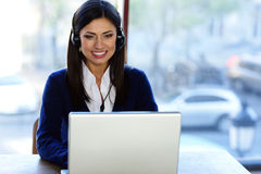 Beautiful call-center assistant Stock Photography