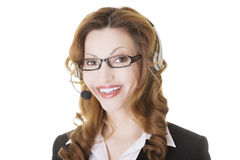 Beautiful call-center assistant smiling Stock Image