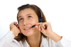 Beautiful call center girl portrait Royalty Free Stock Photography