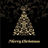 Beautiful calligraphic Christmas tree. Royalty Free Stock Images