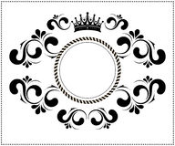 Beautiful calligraphic frame with crown Stock Photo