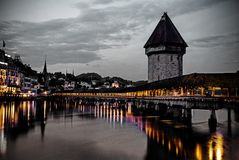 Beautiful Calm Night in Lucern Central stock photos