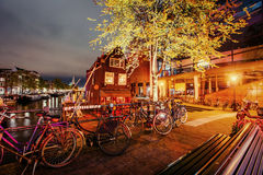 Beautiful calm night view of Amsterdam city Stock Image