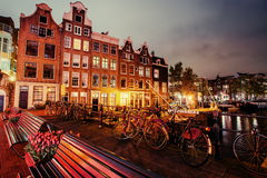 Beautiful calm night view of Amsterdam city Royalty Free Stock Photography