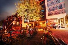 Beautiful calm night view of Amsterdam city Royalty Free Stock Photo