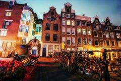 Beautiful calm night view of Amsterdam city Royalty Free Stock Photos