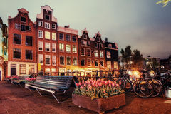 Beautiful calm night view of Amsterdam city Stock Images