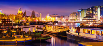 Beautiful calm night view of Amsterdam city Royalty Free Stock Images