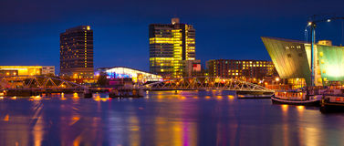 Beautiful calm night view of Amsterdam city. Royalty Free Stock Images