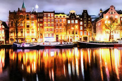 Beautiful calm night view of Amsterdam city. The works in the st. Yle of watercolor painting Stock Photography