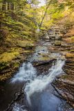 Beautiful calming waterfalls in Autumn, portrait Stock Photo