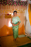 Beautiful Cambodian Asian Bride in Traditional Wedding Dress Stock Photo