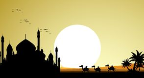 Beautiful camel trip silhouettes with mosque and giant moon background Royalty Free Stock Photo