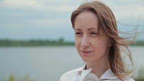 beautiful camera looking model portrait απόθεμα βίντεο