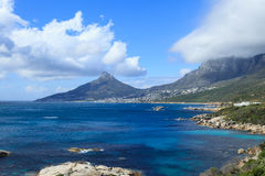 Beautiful Camps Bay Beach and Lion Head Mountain Royalty Free Stock Photos