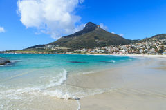 Beautiful Camps Bay Beach and Lion Head Mountain Chain Stock Image
