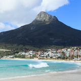 Beautiful Camps Bay Beach and Lion Head Mountain Chain Royalty Free Stock Photo