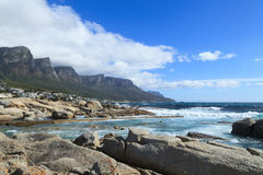 Beautiful Camps Bay Beach and Twelve Apostles Mountain Royalty Free Stock Image