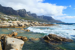 Beautiful Camps Bay Beach and Twelve Apostles Mountain Royalty Free Stock Photography