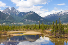 Beautiful Canadian Landscape with Mountains, Lake and Fir Trees Royalty Free Stock Photo