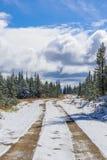 Beautiful Canadian Logging Road In Winter. A Beautiful Canadian Logging Road In Winter stock photo