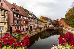 Beautiful Canal in Colmar, Alsace France Stock Photography