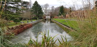 Canal Gardens and Fountain at Roundhay in Leeds West Yorkshire England Stock Photo