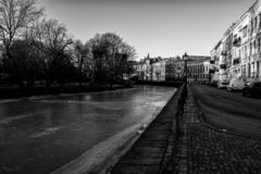 Beautiful canal in Gothenburg Sweden at sunrise royalty free stock image