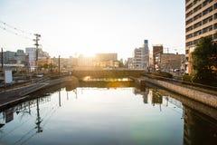Beautiful canal in japan. Beautiful canal and sunlight around sakai in osaka city japan stock photo