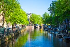 Beautiful canal in the old city of Amsterdam Royalty Free Stock Photography
