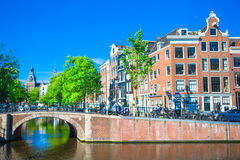 Beautiful canal in the old city of Amsterdam Stock Photography
