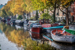 Beautiful canals in Amsterdam, the Netherlands Royalty Free Stock Photos